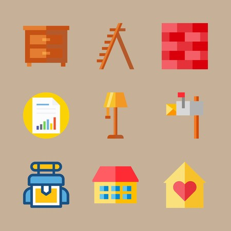 icon set about real assets with file, backpack and box