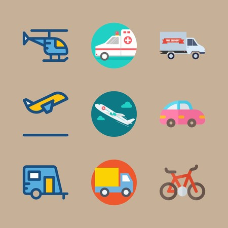 icon set about transport with truck, car and airplane