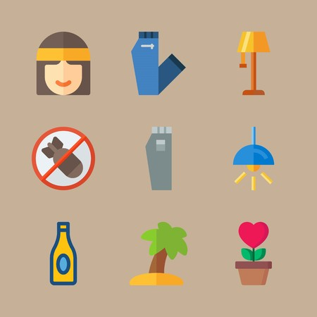icon set about hippies with electric , tree and style