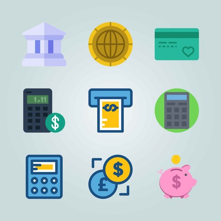 Icon set about Currency. with exchange, credit card and coin 矢量图像