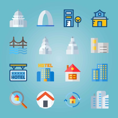 Icon set about Construction. with empire state building, telephone cab and home Illustration