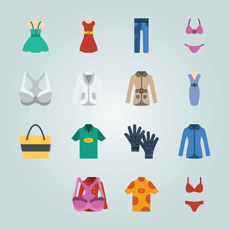 Icon set about Clothes And Accessories. with beach bag, dress and bikini