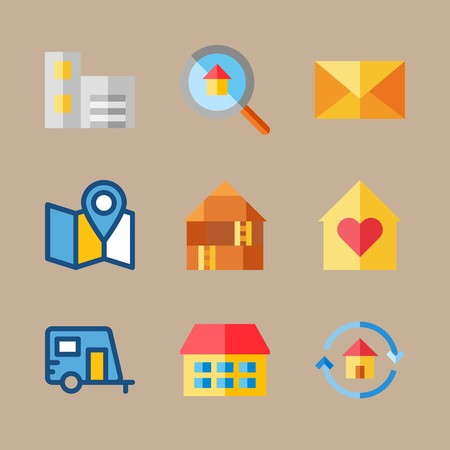 icon set about travel with direction, loupe and map