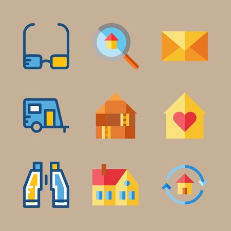 icon set about travel with glasses, binoculars and caravan