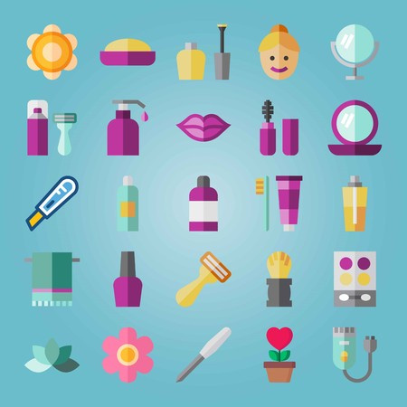 Icon set about Beauty. with hand glass, moisturizer and towel