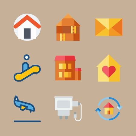 Icon set about travel with escalator, mail and airplane