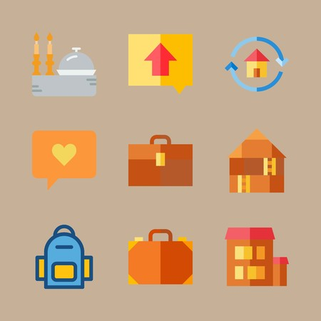 icon set about travel with bag, candles and direction