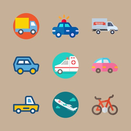 Icon set about transport with mini car, truck and police car