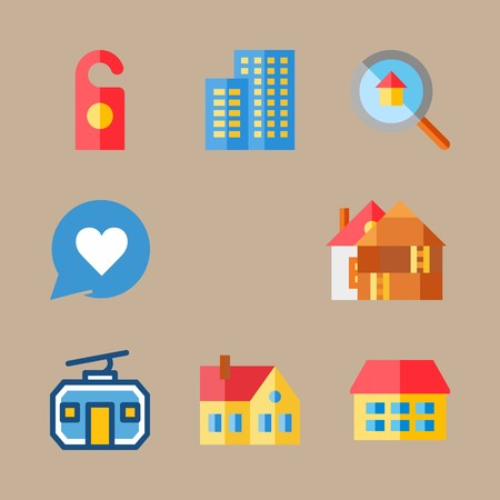 icon set about travel with flats, doorknob and building