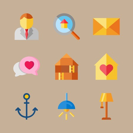 icon set about digital marketing with anchor, mail and electric  矢量图像
