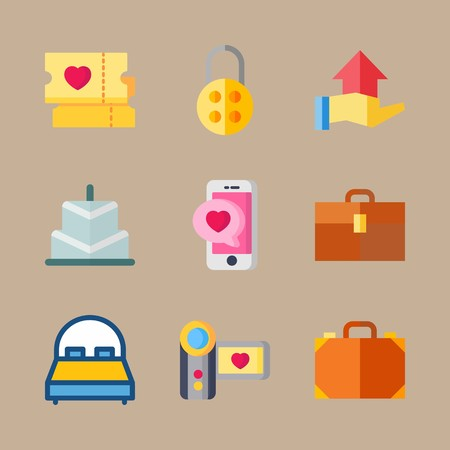 icon set about wedding with camera, cards and hand gesture 矢量图像
