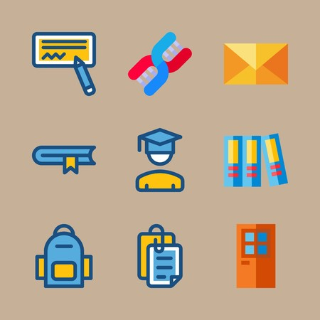 icon set about education and school with book, files and mail