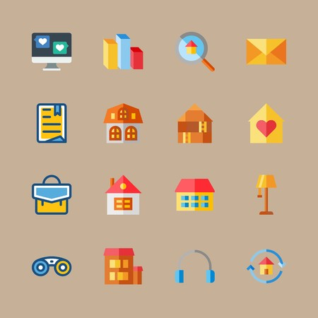 icon set about digital marketing with letter, earphones and chart