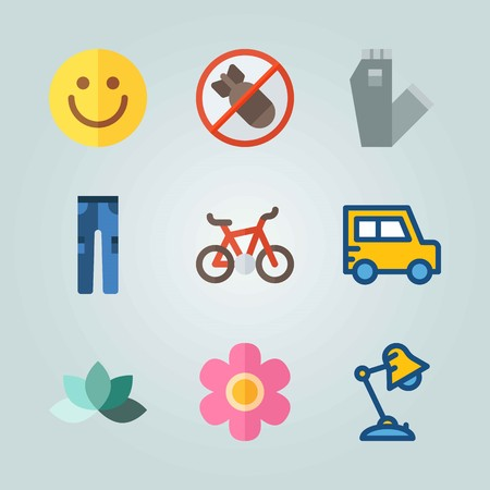 Icon set about Hippies. with lamp, jeans and lotus 矢量图像