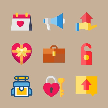 icon set about wedding with microphone, bag and doorknob