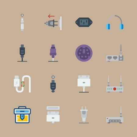 icon set about connectors cables with cables, plug and briefcase