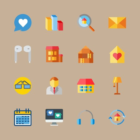 icon set about digital marketing with businessman, headphones and calendar