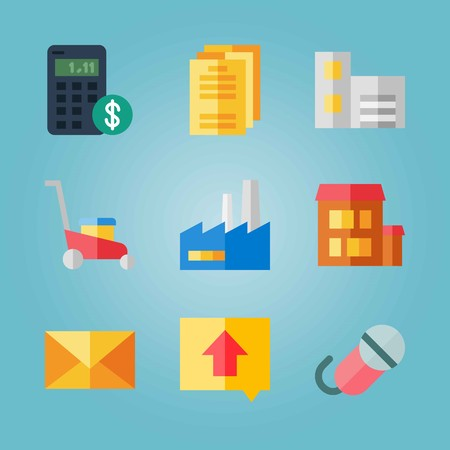 Icon set about Real Assets. with factory, mail and house 矢量图像