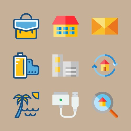 icon set about travel with sun, mail and building 矢量图像