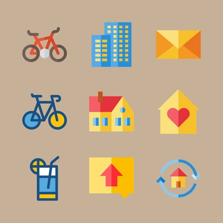 icon set about travel with mail, home and letter