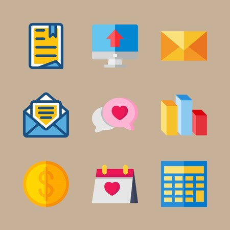 icon set about marketing with calculator, chat and calendar