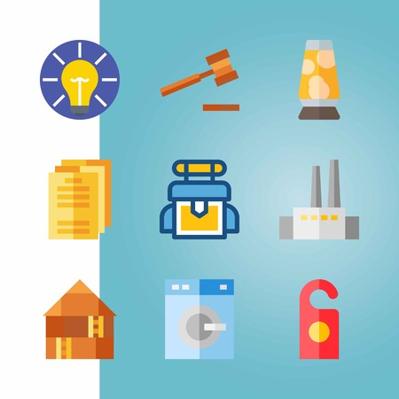 Icon set about Real Assets. with idea, bag and favtory