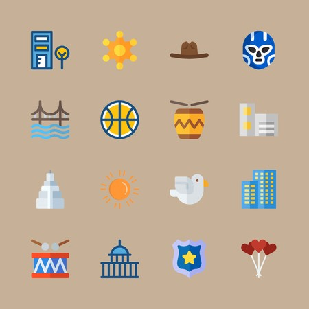 Icon set about united states with capitol, golden gate and telephone cab Banque d'images - 95523552