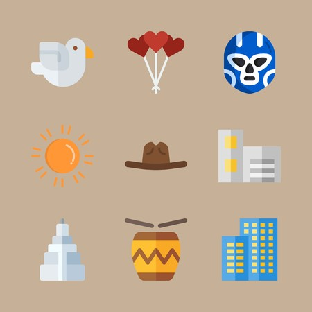 Icon set about united states with drum, cowboy hat and balloons