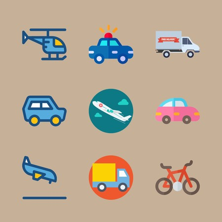 icon set about transport with mini car, pink car and medical airplane