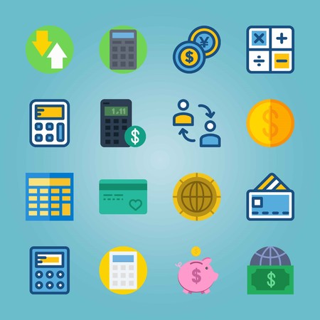 Icon set about Currency. with piggy bank, device and dollar-yen