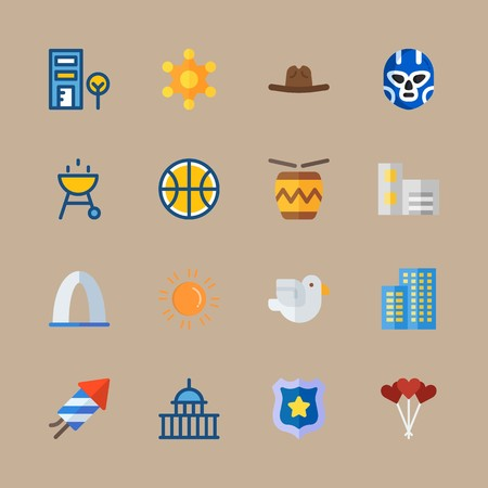 Icon set about united states with barbecue, flats and US