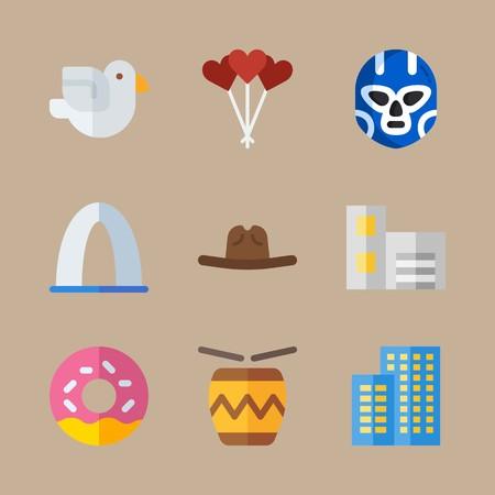 icon set about united states with drum, cowboy hat and building