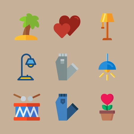Icon set about hippies with tree, lamp and electric Ilustração