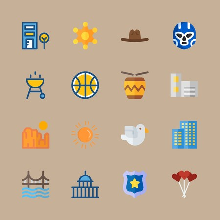 icon set about united states with basketball, cowboy hat and sun