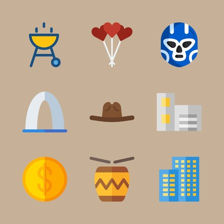Icon set about united states with grill, money and cowboy hat