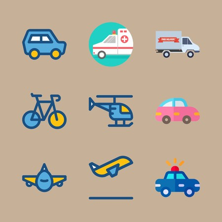 icon set about transport with pink car, ambulance and plane
