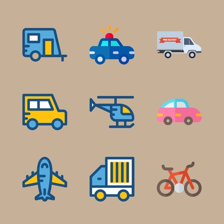 Icon set about transport with plane, pink car and helicopter Banque d'images - 95636168