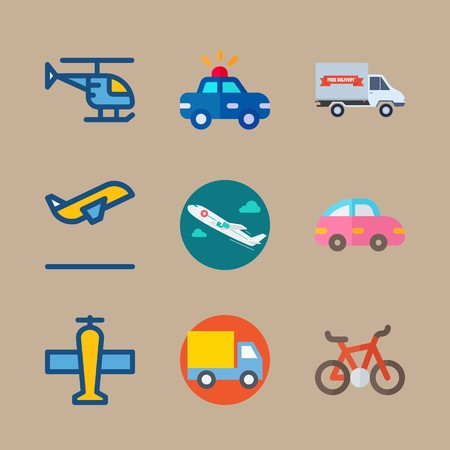 icon set about transport with medical airplane, helicopter and departure 矢量图像