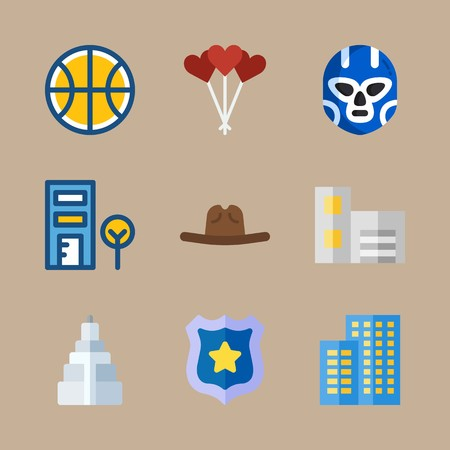 icon set about united states with building, badge and ball Banque d'images - 95587939
