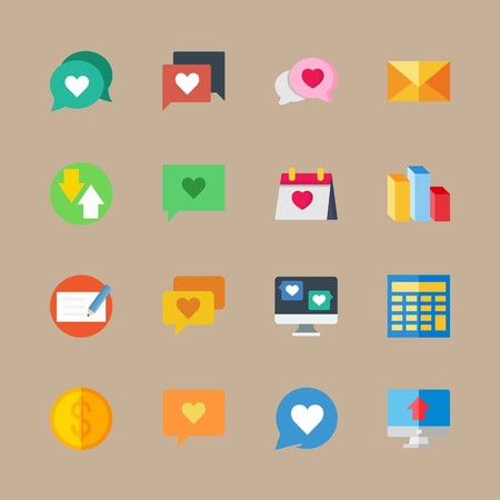icon set about marketing with mail, computer and check Banque d'images - 95588222