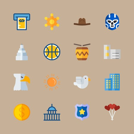 icon set about united states with american symbol, building and empire state building