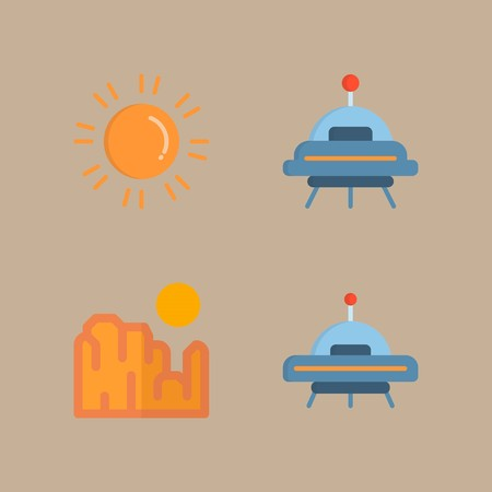 icon set about universe with ufo, sun and grand canyon