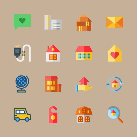 icon set about travel with home, broken cable and earth Banque d'images - 95587944