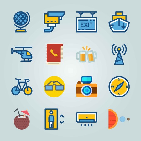 Icon set about Travel. with antenna, exit and cable