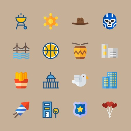 icon set about united states with fireworks, capitol and basketball