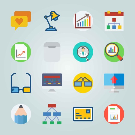 Icon set about Digital Marketing. with diagram, doctor and desk lamp Vettoriali
