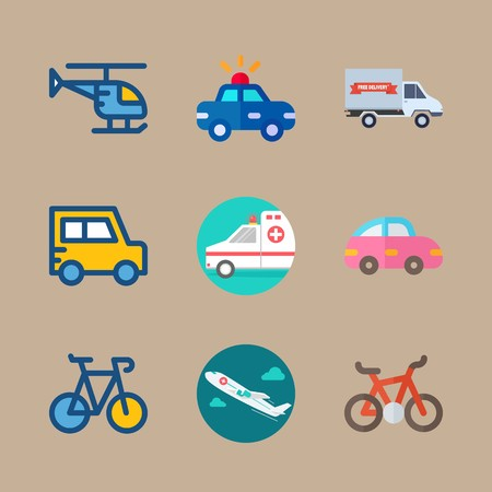 icon set about transport with pink car, helicopter and medical airplane Vettoriali