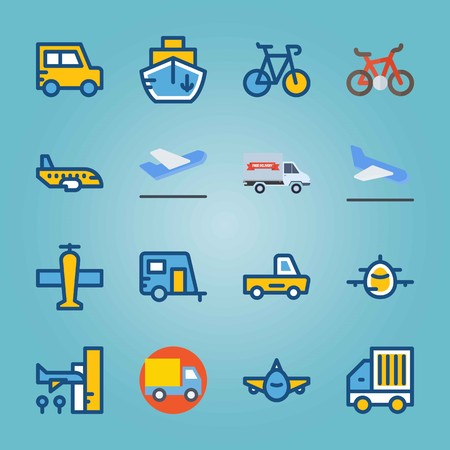 Icon set about Transport. with backside , jet and aircraft
