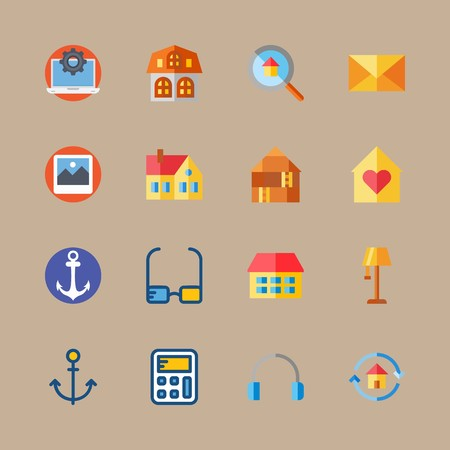 Icon set about digital marketing with loupe, photo and mail