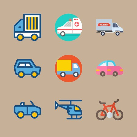 icon set about transport with goods car, pink car and truck